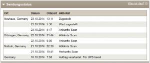 UPS-Sendungsstatus